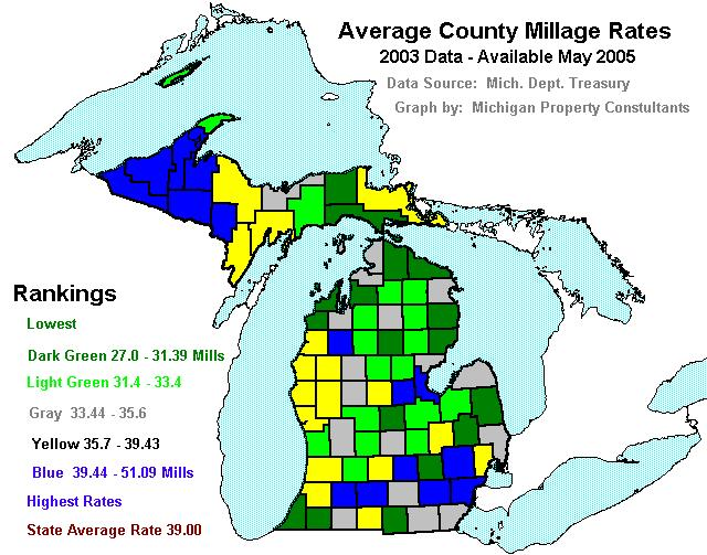 Michigan SEV Values Tax Burdens And Other Charts Maps And Statistics - Property tax map us