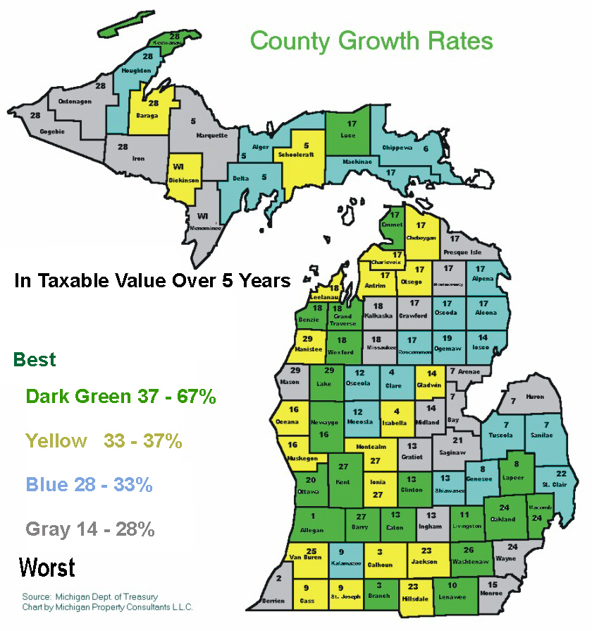 Michigan SEV Values Tax Burdens and other Charts Maps and Statistics